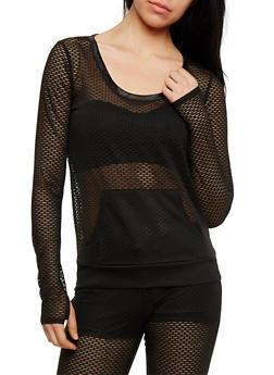 Long Sleeve Mesh Activewear Top - 1056015990152
