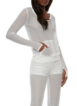Long Sleeve Mesh Activewear Top - 1056015990152