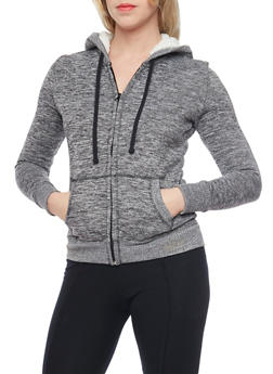 Marled Zip Up Hoodie with Sherpa Lining - 1056015991067