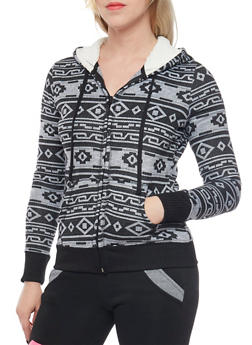 Aztec Print Hoodie with Zip Front and Sherpa Lining - 1056015991149