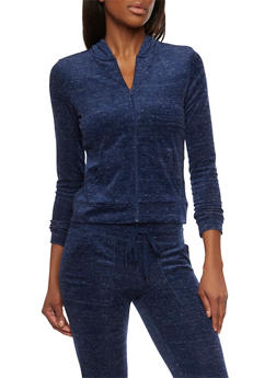 Marled Hoodie with Zip Front - 1056015991250