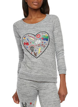 Pullover with Peace Love Rock and Roll Heart Graphic - 1056015992016