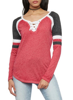 Color Block Long Sleeve Lace Up Top - 1056015992992