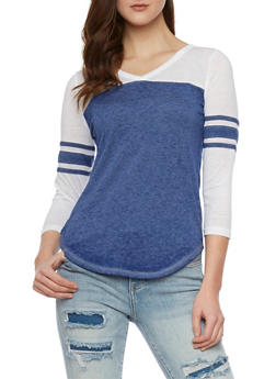 Color Block V Neck Top with Varsity Stripe Sleeves - 1056015994365