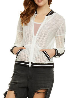 Mesh Baseball Jacket - WHITE - 1056015996106