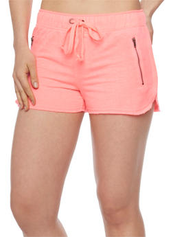 Drawstring Waist Athletic Shorts with Zip Pockets - 1056015996750