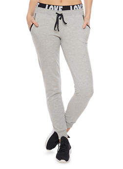 Joggers with Love Print Waistband - 1056015999537