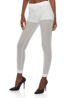 Mesh Drawstring Joggers with Satin Trim - 1056015999836