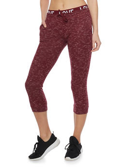 Marled Love Capri Joggers with Drawstring - BURGUNDY - 1056015999963