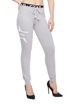 Graphic Joggers with Printed Elastic Waist - 1056015999983