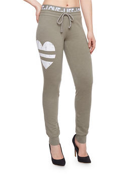 Graphic Joggers with Printed Elastic Waist - OLIVE - 1056015999983