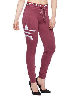 Graphic Joggers with Printed Elastic Waist - BURGUNDY - 1056015999983