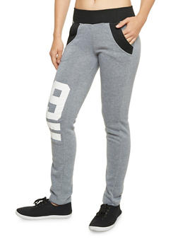 Color Block Sweatpants with 99 Graphics - 1056038342221