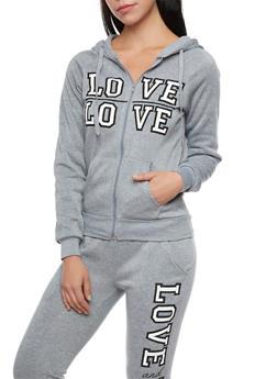 Fleece Zip Up Hoodie with Love Print - 1056038342300
