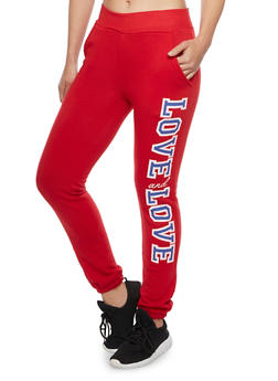 Fleece Joggers with Love and Love Print - 1056038342301