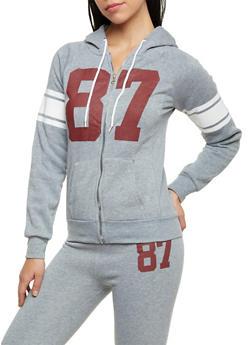 Varsity Zip Front Hoodie - 1056038342400