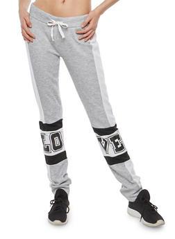 Color Block Graphic Fleece Sweatpants - 1056038342708