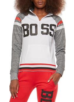 Color Block Boss Graphic Sweatshirt - 1056038342713