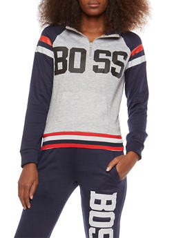 Color Block Boss Graphic Sweatshirt - 1056038342713