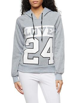 Love 24 Graphic Hooded Sweatshirt - 1056038342715