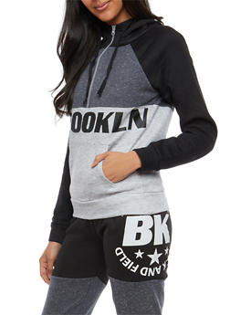 Brooklyn Graphic Color Block Half Zip Sweatshirt - 1056038342727
