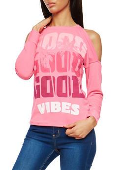 Good Vibes Graphic Cold Shoulder Sweatshirt - 1056038342856
