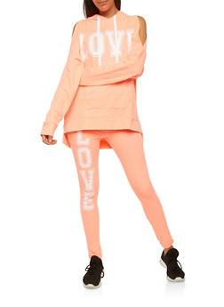 Love Graphic Cold Shoulder Sweatshirt - 1056038342860