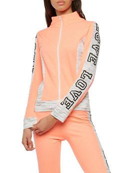 Love Graphic Color Blocked Zip Activewear Top - 1056038342866