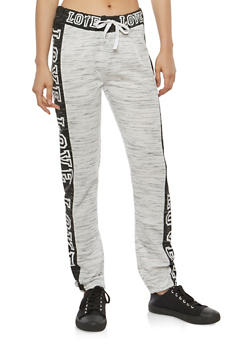 Love Graphic Color Blocked Sweatpants - 1056038342867