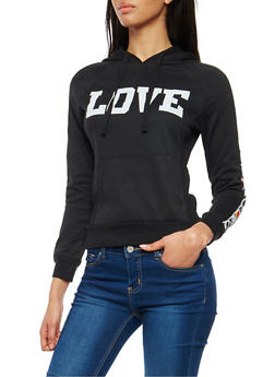 Love Graphic Fleece Lined Hooded Sweatshirt - 1056038342882