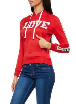 Love Graphic Fleece Lined Hooded Sweatshirt - 1056038342882