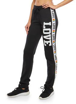 Love Graphic Fleece Lined Sweatpants - 1056038342883