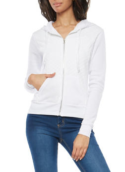 Quilted Hooded Sweatshirt - WHITE - 1056038342894
