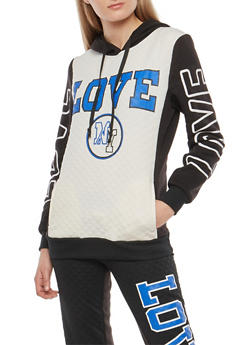 Love Quilted Graphic Hooded Sweatshirt - 1056038342896