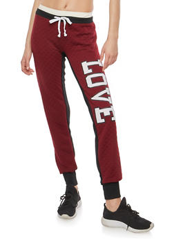 Love Quilted Graphic Sweatpants - 1056038342897
