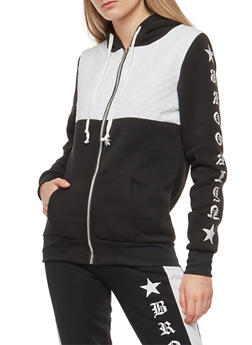 Color Block Graphic Fleece Zip Front Sweatshirt - 1056038342898
