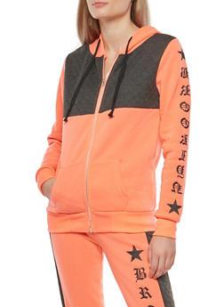 Color Block Graphic Fleece Zip Front Sweatshirt - 1056038342898