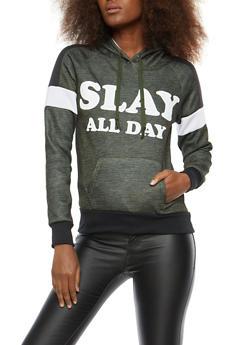 Fleece Graphic Activewear Sweatshirt - OLIVE - 1056038342906