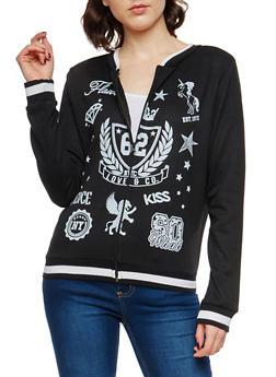 Graphic Varsity Zip Up Sweatshirt - 1056038342910