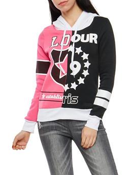 Fleece Lined Graphic Print Hooded Sweatshirt - 1056038342912