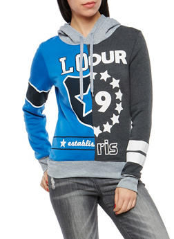 Fleece Lined Graphic Print Hooded Sweatshirt - 1056038342912