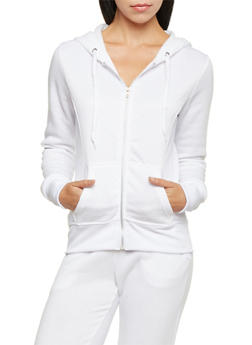 Zip Front Hoodie with Quilted Paneling - 1056038344000
