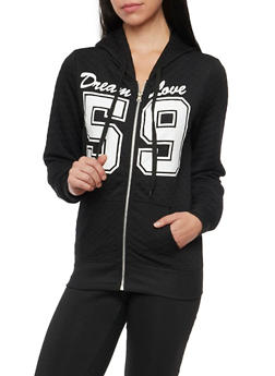 Quilted Dream Love Hoodie with Zip Front - BLACK - 1056038344222