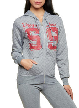 Quilted Dream Love Hoodie with Zip Front - 1056038344222