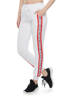 Quilted Joggers with Super Love Graphic - 1056038344301