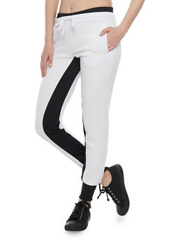 Color Block Joggers with Quilted Front - WHITE - 1056038344501