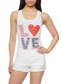 Love Graphic Ruched Side Racerback Tank Top - 1056038345200