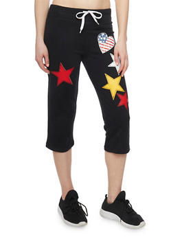 Activewear Capris with Graphic Patches - 1056038345201
