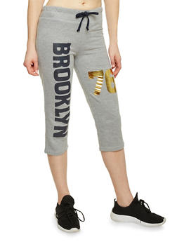 Drawstring Waist Graphic Brooklyn 76 Graphic Capris - 1056038345901