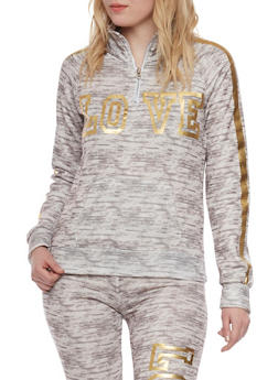 Zip Neck Fleece Top with Love Foil Graphic - 1056038346000
